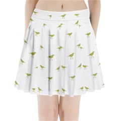 Birds Motif Pattern Pleated Mini Skirt