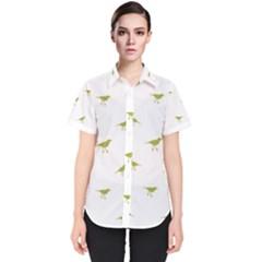 Birds Motif Pattern Women s Short Sleeve Shirt