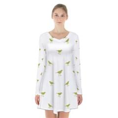 Birds Motif Pattern Long Sleeve Velvet V Neck Dress