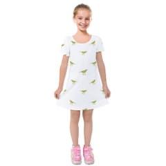 Birds Motif Pattern Kids  Short Sleeve Velvet Dress
