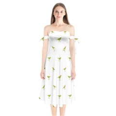 Birds Motif Pattern Shoulder Tie Bardot Midi Dress
