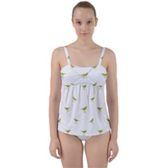 Birds Motif Pattern Twist Front Tankini Set