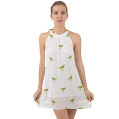 Birds Motif Pattern Halter Tie Back Chiffon Dress