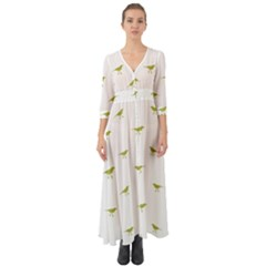 Birds Motif Pattern Button Up Boho Maxi Dress