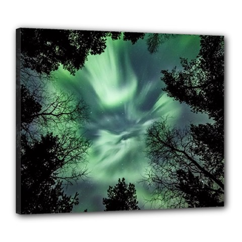 Northern Lights In The Forest Canvas 24  X 20