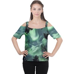 Northern Lights In The Forest Cutout Shoulder Tee