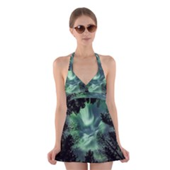 Northern Lights In The Forest Halter Dress Swimsuit