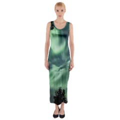 Northern Lights In The Forest Fitted Maxi Dress