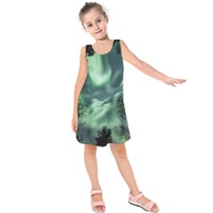 Northern Lights In The Forest Kids  Sleeveless Dress