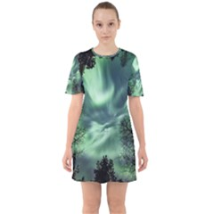 Northern Lights In The Forest Sixties Short Sleeve Mini Dress