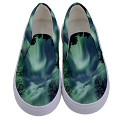Northern Lights In The Forest Kids  Canvas Slip Ons