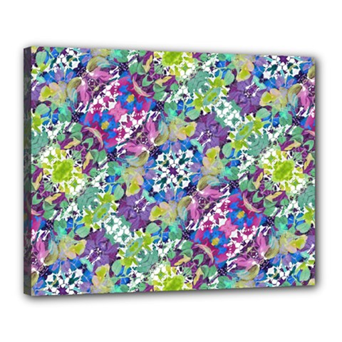 Colorful Modern Floral Print Canvas 20  X 16