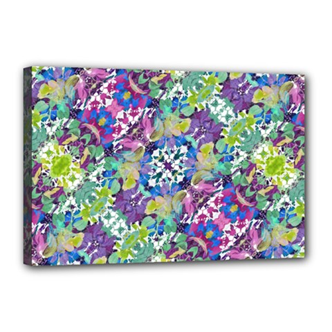 Colorful Modern Floral Print Canvas 18  X 12