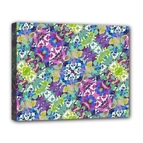 Colorful Modern Floral Print Deluxe Canvas 20  X 16