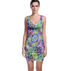 Colorful Modern Floral Print Bodycon Dress
