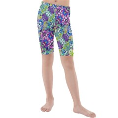 Colorful Modern Floral Print Kids  Mid Length Swim Shorts