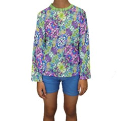 Colorful Modern Floral Print Kids  Long Sleeve Swimwear