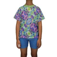Colorful Modern Floral Print Kids  Short Sleeve Swimwear