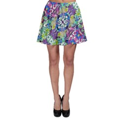 Colorful Modern Floral Print Skater Skirt