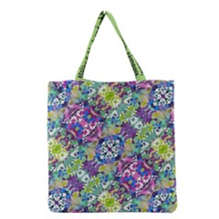 Colorful Modern Floral Print Grocery Tote Bag