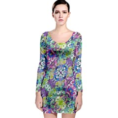 Colorful Modern Floral Print Long Sleeve Bodycon Dress