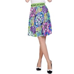 Colorful Modern Floral Print A Line Skirt