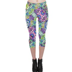 Colorful Modern Floral Print Capri Leggings