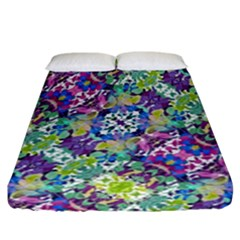 Colorful Modern Floral Print Fitted Sheet (california King Size)
