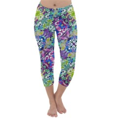 Colorful Modern Floral Print Capri Winter Leggings