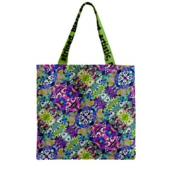 Colorful Modern Floral Print Zipper Grocery Tote Bag