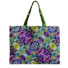 Colorful Modern Floral Print Zipper Mini Tote Bag