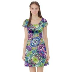 Colorful Modern Floral Print Short Sleeve Skater Dress
