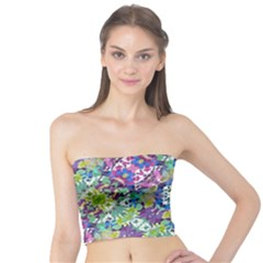 Colorful Modern Floral Print Tube Top
