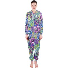 Colorful Modern Floral Print Hooded Jumpsuit (ladies)