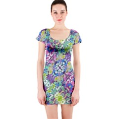 Colorful Modern Floral Print Short Sleeve Bodycon Dress