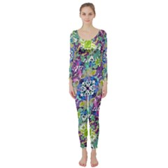 Colorful Modern Floral Print Long Sleeve Catsuit