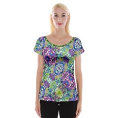 Colorful Modern Floral Print Cap Sleeve Tops