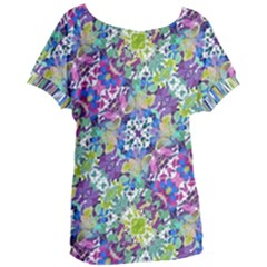 Colorful Modern Floral Print Women s Oversized Tee
