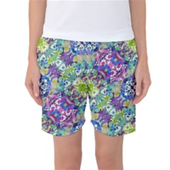 Colorful Modern Floral Print Women s Basketball Shorts