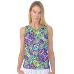 Colorful Modern Floral Print Women s Basketball Tank Top