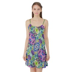 Colorful Modern Floral Print Satin Night Slip
