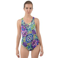 Colorful Modern Floral Print Cut Out Back One Piece Swimsuit