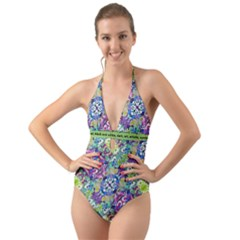Colorful Modern Floral Print Halter Cut Out One Piece Swimsuit