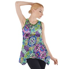 Colorful Modern Floral Print Side Drop Tank Tunic