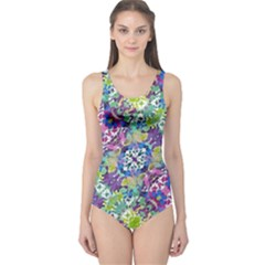 Colorful Modern Floral Print One Piece Swimsuit