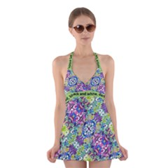 Colorful Modern Floral Print Halter Dress Swimsuit