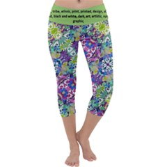 Colorful Modern Floral Print Capri Yoga Leggings