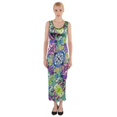 Colorful Modern Floral Print Fitted Maxi Dress
