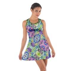 Colorful Modern Floral Print Cotton Racerback Dress