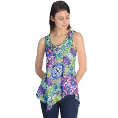 Colorful Modern Floral Print Sleeveless Tunic